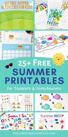 This collection of preschool summer printables is the perfect solution for some quiet time after a busy day. There are over 25 different types of activities for you to download today! #summer #printables #preschool #toddlers #activities #age3 #age4 #teaching2and3yearolds Preschool Learning Activities, Free Preschool, Preschool Printables, Preschool Lessons, Toddler Preschool, Preschool Activities, Fun Games For Kids, Summer Activities For Kids, Summer Books