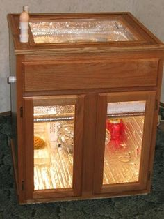 Homemade incubator for chickens.
