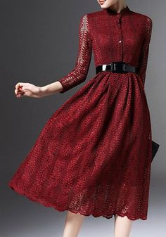 Ladylike Stand Collar Long Sleeve Women s Lace Dress