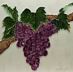 "8"" X 8"" Unique Raised Tile Art with Stand By: Wayne Gao, Simply Titled ""Bundle of Grapes"" by Carromata Furniture. $22.95. Picture Stand and Hanger on the Back. Vivid Colors. High Gloss Finish. Raised Lines. This piece of Raise Tile Art by Wayne Gao, titled ""Bundle of Grapes"" is a one of kind portrait of a vividly colored bundle of concord grapes still on the vine. Each piece has been handcrafted. What makes this tile art more unique is lines in the artwork are raised which mak..."