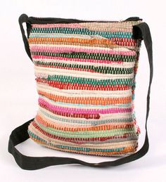 Recycled rag & rug cross body bag, handmade anywhere