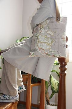 beige world map print large diaper bag/  large tote by leyyabags, $45.00