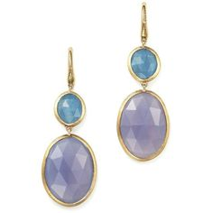 Marco Bicego Siviglia Resort Drop Earrings with Aquamarine and... (2,335 BAM) ❤ liked on Polyvore featuring jewelry, earrings, yellow gold aquamarine earrings, 18 karat gold earrings, stone drop earrings, yellow gold drop earrings and chalcedony earrings