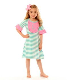 Loving this Aqua & Light Pink Initial Bib Dress - Infant & Girls on #zulily! #zulilyfinds