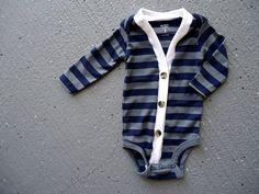 Baby Cardigan Onesie - Blue/Gray Preppy Baby Boy Cardi - $25.00, via Etsy.