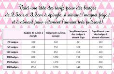Tarifs Badges personnalisés pour vos événements : mariage, bapteme, anniversaire, naissance..- Badgesfolie
