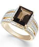 Victoria Townsend 18k Gold over Sterling Silver Smokey Quartz (2-9/10 ct. t.w.) and Diamond Accent Ring