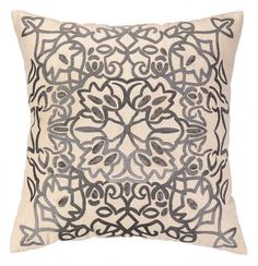 Nanette Lepore Lace Embroidered Pillow - Grey