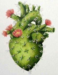 Ideas For Flowers Illustration Cactus Arte Com Grey's Anatomy, Anatomy Art, Cactus Art, Cactus Painting, Heart Painting, Mexican Art, Heart Art, Art Plastique, Art Inspo