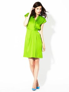 There won't be a more vibrant neon within 5 miles of you if you don this DvF silk wrap!  #amyesperstyling