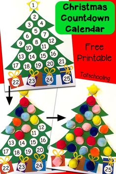 Free printable Christmas tree advent calendar for kids to count and cover up the days until Christmas!