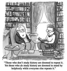 Those who don't study history are doomed to repeat it. Yet, those who do study history are doomed to stand by helplessly while everyone else repeats it.