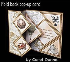 Would rather stamp my own. Fold back pop up Vintage on Craftsuprint designed by Carol Dunne Fun Fold Cards, Pop Up Cards, Folded Cards, 3d Cards, Joy Fold Card, Card Making Tutorials, Card Making Techniques, Step Cards, Interactive Cards