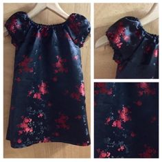 Bold and beautiful in brocade!  This simple black and red brocade peasant style dress is perfect for fall and winter!