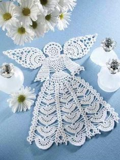 Angel Doily Kit (includes size 10 crochet cotton) on Annie's Crafts at…Not just for holidays, this crochet angel kit is heavenly! Display this beautiful crochet angel doily year-round. Kit includes enough size 10 crochet cotton to make one 11 x doi Christmas Crochet Patterns, Holiday Crochet, Crochet Snowflakes, Crochet Doily Patterns, Thread Crochet, Crochet Motif, Crochet Designs, Crochet Crafts, Crochet Doilies