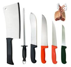 """BUTCHER'S KNIFE SET BY DOLOMITEN INOX  1) PROFESSIONAL BUTCHER'S KNIFE SET WITH 14"""" SHARPENING STEEL..  2) ALL KNIVES HAND SHARPENED BY EXPERTS PRIOR TO DISPATCH - FOR FREE!  3) DISHWASHER PROOF NON SHATTER HANDLES  4) DOLOMITEN INOX. SERIOUS GERMAN KNIVES"""