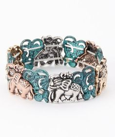 Loving this Green & Gold Ornate Elephant Stretch Bracelet on #zulily! #zulilyfinds