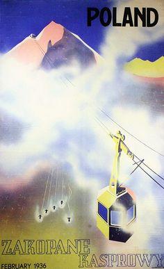 "Poster: ""Poland, Zakopane - Kasprowy"" (Kasprowy Wierch or Kasprov vrch is a mountain in the Western Tatras, Elevation: 1,987 m)    Artist: Stefan Osiecki (1902 - 1977)  Artist: Jerzy Walerian Skolimowski (1907 - 1985)  Poland, 1936"