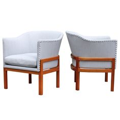 Rare Mogens Koch Pair of MK51 Easy Chairs | From a unique collection of antique and modern armchairs at https://www.1stdibs.com/furniture/seating/armchairs/