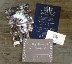 Monogram Blue & Grey Custom Wedding by PaperPleaseStudio on Etsy