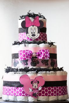 Minnie Mouse Diaper Cake/ Disney Baby/ Baby Shower/ Diaper Cakes/ Gifts for Baby Girl/ It's a Girl/ Minnie cake/ Mommy to be/ Gifts/ Girl by LittleOrchidStudio on Etsy https://www.etsy.com/listing/247141879/minnie-mouse-diaper-cake-disney-baby