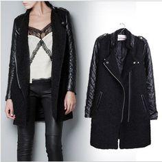 2014 Женщины моды кожа рукав воротник стойка тонкий кожаное пальто PU мотоциклетная куртка дамы черная кожаная куртка пальто, принадлежащий ...
