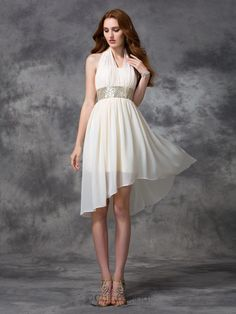 5fe64f401a1 Chicregina A-line Princess Halter Asymmetrical Chiffon Cocktail Dress with  Ruffles Sequins Affordable Price