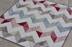 Mia Dolce Originals - Modern Quilts and DIY Projects: Hometown Zig-Zag Quilt. I like the polka dots.