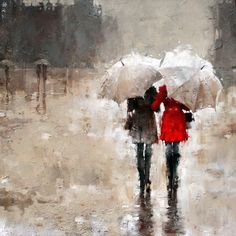 ==> [Free Shipping] Buy Best 100% Handpainted Free Shipping Oil Painting on Canvas Handmade Wall Art Modern Rain Landscape Picture Two People Online with LOWEST Price | 32369736199