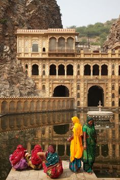 Color is a fact of life in Jaipur, whether it's on buildings or on the bright saris that women drape themselves in.
