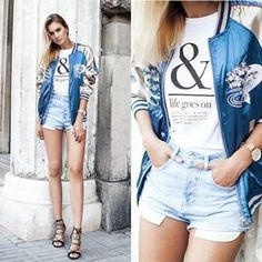 @Fashionagony  creates a fun, sexy take on the embroidery trend with this uber-cool satin bomber. She pairs denim cut-offs, a simple logo Tee and sexy black strappy sandals to finish the look. During the winter months, add a pair of ripped skinnies and heeled ankle boots to hero the jacket and keep warm.  Satin bomber: #shein , Tee: #ASSEENONME , Denim Cut-offs: #zara , Shoes: #CMG, Watch: #marcbale . #fashion, #fashionista, #fashionblogger, #streetstyle, #fashionicon, #instastyle…