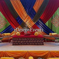 Colorful backdrop for jago, sangeet, satak, mela, mehndi, henna maharani wedding celebrations, fulkhari Arabian knights, Aladdin Indian theme  type decor available @iDesignEvents