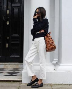 @roressclothes closet ideas #women fashion outfit #clothing style apparel White Pants and Black Top