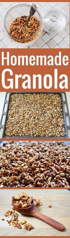 Réalisez votre propre granola maison grâce à cette formule de base facile et flexible, à adapter selon vos goûts et les ingrédients dont vous disposez. #healthybreakfasts