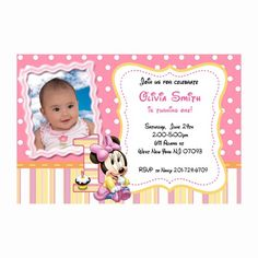 Printable baby minnie mouse first birthday invitations cards pink minnie mouse first birthday invitation card printable marypartysupply digital art on artfire filmwisefo