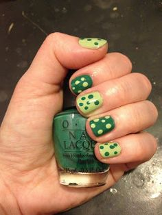 (Almost) St. Patrick's Day Nail Art: Polka Dots With Essie and OPI!