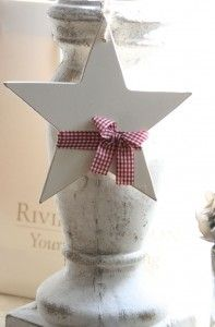 Wooden star with gingham ribbon