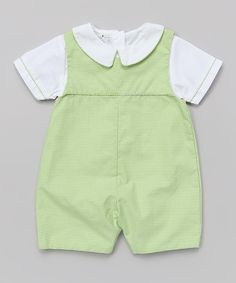 Look at this Green Layered Romper - Infant on #zulily today!