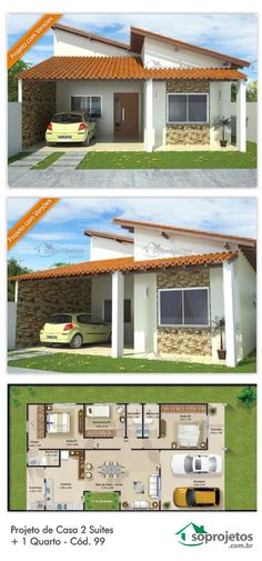 Storey house covered project in clay tile, with 3 bedrooms, two of them ...