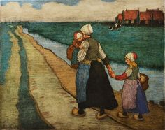 CHARLES W. BARTLETT (1860-1940) By the Dyke Side, Marken, Holland, woodcut in colours, signed with initials and dated 1912 in the plate, pencil signed in the margin, 30 x 38cm  Sold for £900
