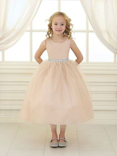 Ivory Satin and Tulle Flower Girl Dress