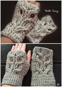 Crochet Fingerless Cabled Owl Mitts Free Pattern- #Crochet Owl Ideas Free Patterns