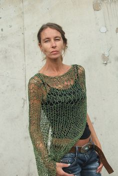 Army green Loose knit cotton shrug LAST ONE in this shade