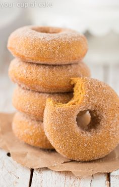 Baked Pumpkin Doughnuts, these are the BEST! Tossed in cinnamon sugar too!