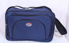 American Tourister Blue Nylon Boarding Bag Carry On Gym Bag Appx 15 x 10 x 5 #AmericanTourister