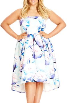 City Chic 'Perfect Peony' Strapless High/Low Fit & Flare Dress (Plus Size) available at #Nordstrom