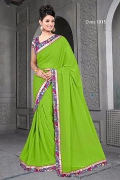 46234443b390d Georgette Embroidered Saree with Banglori Slik Blouse