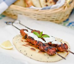 Chicken Tikka Skewers with Minty Yogurt Sauce on Naan Bread (leave out the red food coloring!)