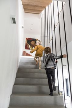 Cristina Balducci and Frédéric, Alexandre Louis Colette 1 year old - The Socialite Family Pastel Kitchen Decor, Escalier Design, Ceiling Light Design, House Stairs, Rubber Flooring, River House, House Entrance, Staircase Design, Home Interior