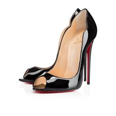 """""""Hot Wave"""" has all the girls lusting after her amazing shape.  Her black patent leather scalloped vamp and open toe brings distinct sensuality to her design.  With a plunging 130mm pitch, she may be built more for posing than walking.  So, slip her on, pose, and let others come to you."""